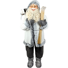 Fraser Hill Farm Life-Size Indoor Christmas Decoration, 5-Ft. Standing Santa Claus Holding Skis & Wearing a Furry White Jacket w/ Gray Trim, FSC058-0GRY1