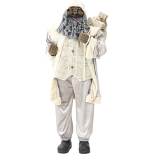 Fraser Hill Farm Life-Size Indoor Christmas Decoration, 5-Ft. African American Santa Claus Holding Gift Sack & Wearing Gray Velvet Suit w/Vest, FSC058-0GRY1-AA