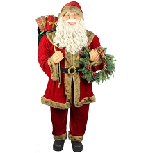 Fraser Hill Farm Life-Size Indoor Christmas Decoration, 5-Ft. Standing Santa Claus Holding Wreath & Wearing Red Velvet Suit w/Fur Trim, FSC058-0RD1