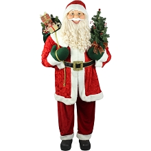 Fraser Hill Farm Life-Size Indoor Christmas Decoration, 5-Ft. Standing Santa Claus with Tree Wearing Red Velvet Suit w/ White Fur Trim, FSC058-0RD2