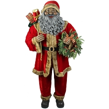 Fraser Hill Farm Life-Size Indoor Christmas Decoration, 5-Ft. African American Santa Claus Holding Wreath & Wearing Red Velvet Suit w/Fur Trim, FSC058-0RD2-AA