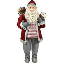 Fraser Hill Farm Life-Size Indoor Christmas Decoration, 5-Ft. Standing Santa Claus Holding Snowshoes & Wearing a Nordic Sweater, FSC058-0RD3