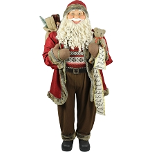 Fraser Hill Farm Life-Size Indoor Christmas Decoration, 5-Ft. Standing Santa Claus with Scroll, Gift Sack, and Bear, Wearing a Nordic Sweater, FSC058-0RD5
