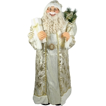 Fraser Hill Farm Life-Size Indoor Christmas Decoration, 5-Ft. Standing Santa Claus Holding a Gift & Wearing a Gold Brocade Robe w/ Fur Trim, FSC058-0WT3