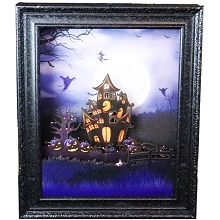 Haunted Hill Farm 18-In. Haunted House Shadowbox with Animation and Spooky Music, Black, FSGRFR018A-BLK1