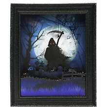 Haunted Hill Farm 18-In. Grim Reaper Shadowbox with Animation and Spooky Music, Black, FSHHFR018A-BLK1