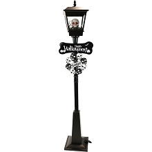 Haunted Hill Farm 71-In. Gruesome Skull Lamp Post with Animation and Spooky Music, Black, FSSLSK071A-BLK1
