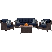 Gramercy 4PC Woven Fire Pit Set with Woodgrain Tile Top in Navy Blue - GRAM4PCFP-NVY-WG