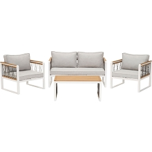 Mod Furniture Hampton 4-Piece Modern Outdoor Furniture Chat Set with All-Weather Aluminum Frames, Rope and Faux Wood Accents, Grey Cushions