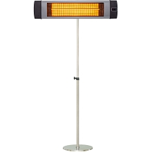 Hanover 34.6-In. Wide Electric Carbon Infrared Heat Lamp with Remote Control and Stainless Steel Stand, Silver, HAN1041IC-SLV-SD