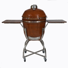19 In. Ceramic Kamado Grill in Rust with Stainless Steel Cart and Accessories Package - HAN191KMDCSCA-RT