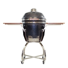19 In. Ceramic Kamado Grill in Gun Metal with Stainless Steel Cart and Protective Cover - HAN191KMDCSC-GM