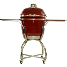 19 In. Ceramic Kamado Grill in Red with Stainless Steel Cart and Protective Cover - HAN191KMDCSC-RD