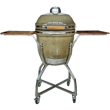 19 In. Ceramic Kamado Grill in Desert with Stainless Steel Cart and Protective Cover - HAN191KMDCSC-TN