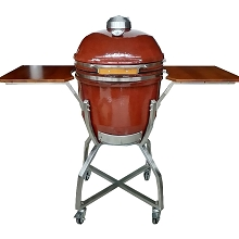 19 In. Ceramic Kamado Grill in Red with Stainless Steel Cart - HAN191KMDCS-RD