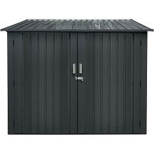 Hanover Galvanized Steel Bicycle Storage Shed with Twist Lock and Key for up to 4 Bikes, Dark Gray, HANBIKESHD-GRY