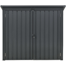 Hanover Galvanized Steel Trash and Recyclables Storage Shed with 2-Point Locking System, Dark Gray, HANBINSHD-GRY