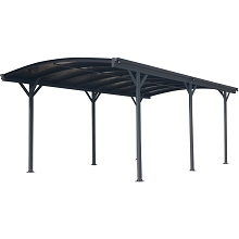 Hanover 19-Ft. x 10-Ft. Aluminum Arch-Roof Carport with Polycarbonate Roof Panels, HANCARPRT19X10-GRY