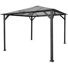 Hanover 10-Ft. x 10-Ft. Aluminum Hardtop Gazebo with Polycarbonate Roof Panels, HANGAZ10X10-GRY