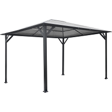 Hanover 13-Ft. x 10-Ft. Aluminum Hardtop Gazebo with Polycarbonate Roof Panels, HANGAZ13X10-GRY