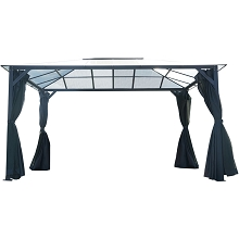 Hanover 13-Ft. x 10-Ft. Aluminum Hardtop Gazebo with Polycarbonate Roof Panels, Sunshade Curtains, and Mosquito Netting, HANGAZCN13X10-GRY