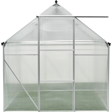 Hanover 6-Ft. x 6-Ft. Polycarbonate Walk-In Greenhouse w/Aluminum Frame, Galvanized Steel Base, Siding Door and Automatic Vent Opener, HANGRNHS6X6-NAT