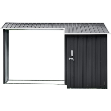 Hanover 2-in-1 Galvanized Steel Multi-Use Shed with Firewood Storage, HANMLTIWDSHD-GRY