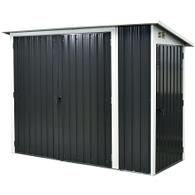 Hanover 2-In-1 Galvanized Steel Multi-Use Shed in Dark Grey with Front Double-Door Storage and Side Single-Door Storage, HANMLTPATSHD-GRY