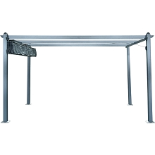 Hanover 13-Ft. x 10-Ft. Aluminum Pergola with Adjustable Canopy Cover, Dark Gray, HANPERG13X10-GRY