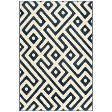 Hanover 4 Ft. x 6 Ft. Indoor/Outdoor Backless Rug with 5000 Hours of UV Protection - Greek Key Royal Blue, HANRG4X6GK-BLU
