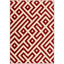 Hanover 4 Ft. x 6 Ft. Indoor/Outdoor Backless Rug with 5000 Hours of UV Protection - Greek Key Red, HANRG4X6GK-RED
