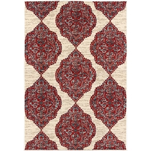 Hanover 4 Ft. x 6 Ft. Indoor/Outdoor Backless Rug with 5000 Hours of UV Protection -Moroccan-Inspired Red/Tan Ikat Design, HANRG4X6IK-RED