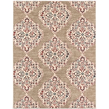 Hanover 4 Ft. x 6 Ft. Indoor/Outdoor Backless Rug with 5000 Hours of UV Protection -Moroccan-Inspired Light Red/Tan Ikat Design, HANRG4X6IK-TAN