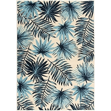 Hanover 5 Ft. x 8 Ft. Indoor/Outdoor Backless Rug with 5000 Hours of UV Protection, Tropical Palm Leaf Blue, HANRG5X8PLM-BLU