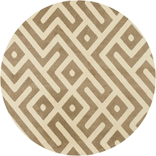 Hanover 79-Inch Round Indoor/Outdoor Backless Rug with 5000 Hours of UV Protection - Greek Key Tan, HANRG79RDGK-TAN