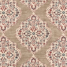 Hanover 79-Inch Square Indoor/Outdoor Backless Rug with 5000 Hours of UV Protection - Moroccan-Inspired Light Red/Tan Ikat Design, HANRG79SQIK-TAN