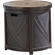 Hanover 25 In. Round Umbrella Side Table with Tile Tabletop - HANUMBTBL-RND