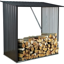 Hanover Indoor/Outdoor Galvanized Steel Woodshed Storage Rack Holds up to 55 Cu. Ft. of Stacked Firewood, HANWDSHD-GRY
