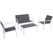 Mod Furniture Harper 4-Piece Modern Outdoor Aluminum Chat Set with 2 Sling Side Chairs, Sling Loveseat, and Glass-Top Coffee Table, HARP4PC-WG