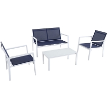 Mod Furniture Harper 4-Piece Modern Outdoor Aluminum Chat Set with 2 Sling Side Chairs, Sling Loveseat, and Glass-Top Coffee Table, HARP4PC-WN