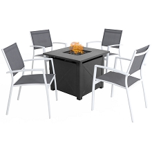 Mod Harper 5-Piece Fire Pit Chat Set: 4 Sling Chairs and 40,000 BTU Tile-Top Fire Pit Table w/ Burner Cover, White/Gray