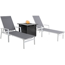 Mod Furniture Harper 3-Piece Modern Outdoor Fire Pit Set with 2 Grey Sling Chaise Lounge Chairs and 40,000 BTU Tile-Top Gas Fire Pit, HARPCHS3PCFP-WG