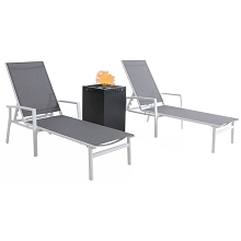Mod Furniture Harper 3-Piece Modern Outdoor Fire Pit Set with 2 Grey Sling Chaise Lounge Chairs and 40,000 BTU Gas Fire Pit, HARPCHS3PCGFP-WG