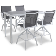Mod Furniture Harper 5-Piece Modern Outdoor Bar Dining Set with 4 Grey Sling. White Frame Aluminum Swivel Bar Chairs and Rectangle Glass Top Table