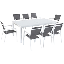 Mod Furniture Harper 9-Piece Outdoor Dining Set with 8 Sling Chairs and a 40
