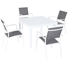Mod Furniture Harper 5-Piece Outdoor Dining Set with 4 Sling Arm Chairs and a 38