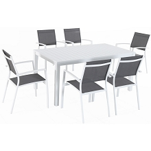 Mod Furniture Harper 7-Piece Outdoor Dining Set with 6 Sling Chairs and a 63
