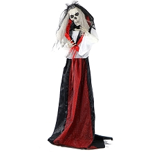 Haunted Hill Farm Life-Size Animated Moaning Skeleton Bride Prop w/ Flashing Red Eyes for Indoor/Outdoor Halloween Decoration, Battery-Operated, HHBRIDE-1FLSA