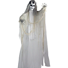 Haunted Hill Farm Life-Size Animatronic Bride, Indoor/Outdoor Halloween Decoration, Red Flashing Eyes, Poseable, Battery-Operated, HHBRIDE-2FLSA