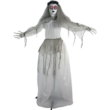 Haunted Hill Farm Life Size Animatronic Bride, Indoor/Outdoor Halloween Decoration, Eyes Light Up Red, Poseable, Battery-Operated, HHBRIDE-3FLS